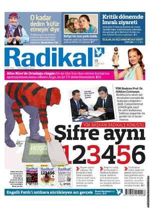 Radikal Gazetesi 15 Ocak 2013 kapağı