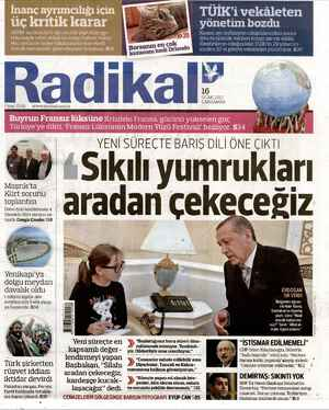 Radikal Gazetesi 16 Ocak 2013 kapağı
