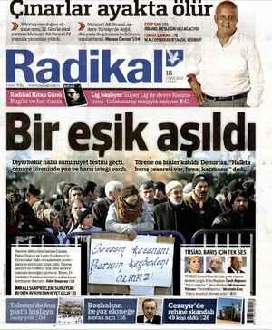 Radikal Gazetesi 18 Ocak 2013 kapağı