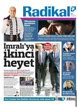 Radikal Gazetesi 19 Ocak 2013 kapağı