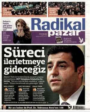 Radikal Gazetesi 20 Ocak 2013 kapağı
