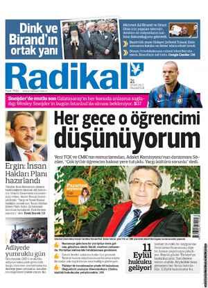 Radikal Gazetesi 21 Ocak 2013 kapağı