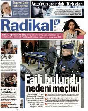 Radikal Gazetesi 22 Ocak 2013 kapağı