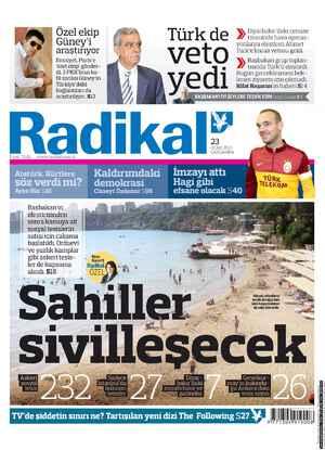 Radikal Gazetesi 23 Ocak 2013 kapağı
