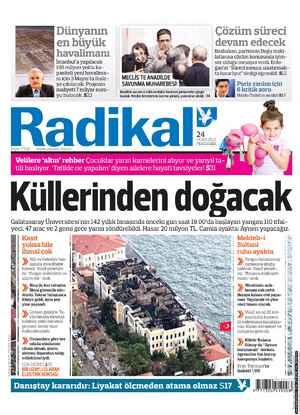 Radikal Gazetesi 24 Ocak 2013 kapağı