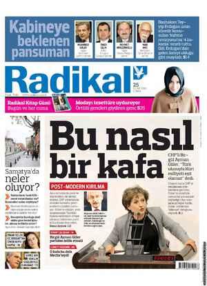 Radikal Gazetesi 25 Ocak 2013 kapağı
