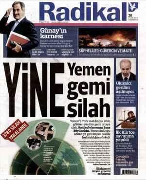 Radikal Gazetesi 26 Ocak 2013 kapağı