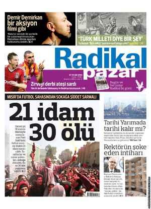 Radikal Gazetesi 27 Ocak 2013 kapağı