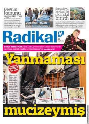 Radikal Gazetesi 30 Ocak 2013 kapağı