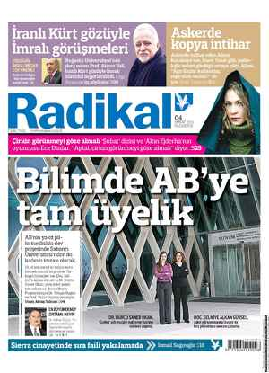 Radikal Gazetesi 4 Şubat 2013 kapağı