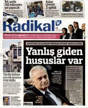 Radikal Gazetesi 6 Şubat 2013 kapağı