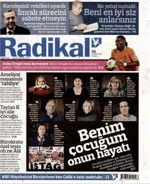 Radikal Gazetesi 8 Şubat 2013 kapağı