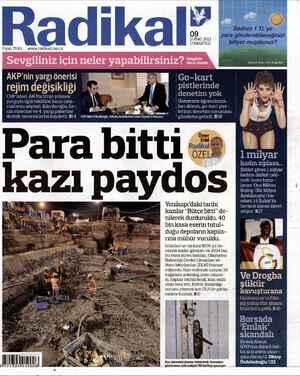 Radikal Gazetesi 9 Şubat 2013 kapağı