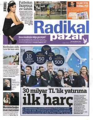Radikal Gazetesi 8 Haziran 2014 kapağı