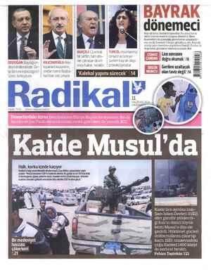 Radikal Gazetesi 11 Haziran 2014 kapağı