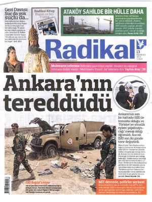 Radikal Gazetesi 13 Haziran 2014 kapağı