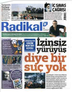 Radikal Gazetesi 14 Haziran 2014 kapağı