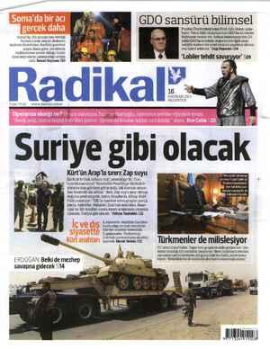 Radikal Gazetesi 16 Haziran 2014 kapağı