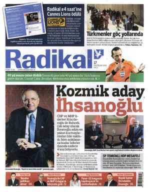 Radikal Gazetesi 17 Haziran 2014 kapağı
