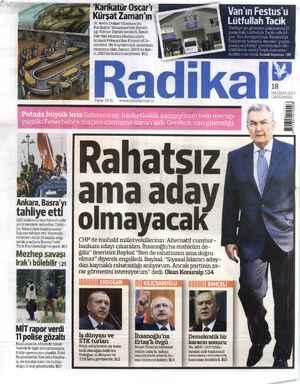 Radikal Gazetesi 18 Haziran 2014 kapağı