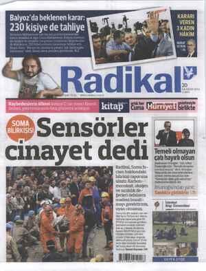 Radikal Gazetesi 20 Haziran 2014 kapağı