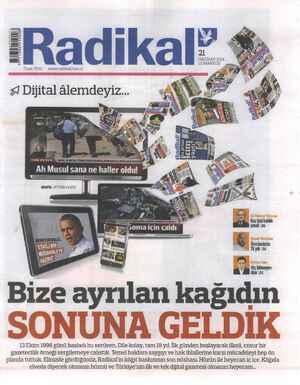Radikal Gazetesi 21 Haziran 2014 kapağı