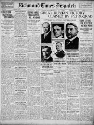 Richmond Times Dispatch Gazetesi 26 Kasım 1914 kapağı