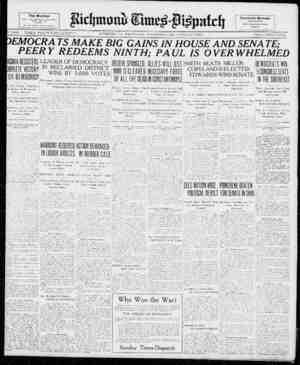 "p year nV'.'hkhy?? "" Richmond, va., Wednesday, November ?, 1922. ?twelve pages. price, three cents. EMOCRA TS MAKE BIG GAINS"