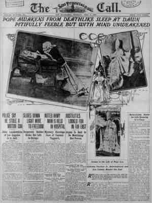 SAN FRANCISCO; TUESDAY;^ JULY 7, 1903. VOLUME XCIV— NO. 37. PRICE FIVE CENTS. Remarkable Battle for Life Drawing . to a...