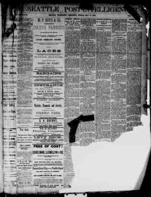 The Seattle Post-Intelligencer Gazetesi 11 Mayıs 1888 kapağı