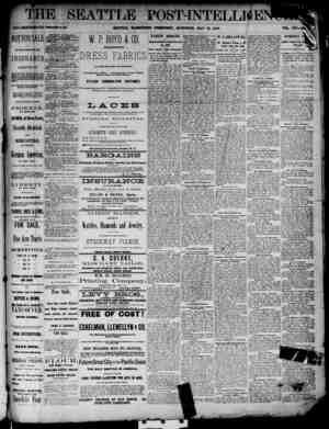 The Seattle Post-Intelligencer Gazetesi 12 Mayıs 1888 kapağı