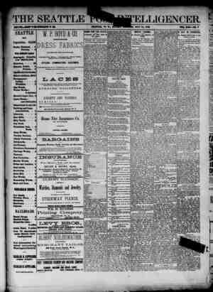 The Seattle Post-Intelligencer Gazetesi 13 Mayıs 1888 kapağı