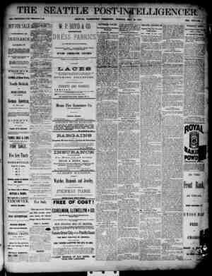 The Seattle Post-Intelligencer Gazetesi 15 Mayıs 1888 kapağı