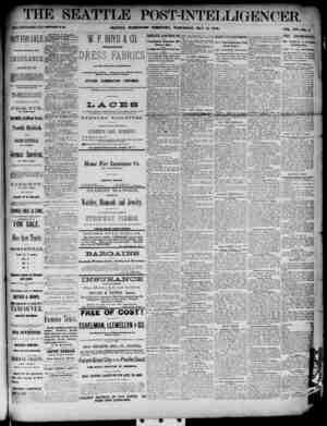 The Seattle Post-Intelligencer Gazetesi 16 Mayıs 1888 kapağı