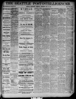 The Seattle Post-Intelligencer Gazetesi 17 Mayıs 1888 kapağı