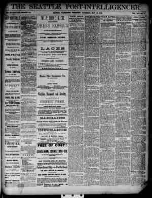 The Seattle Post-Intelligencer Gazetesi 19 Mayıs 1888 kapağı