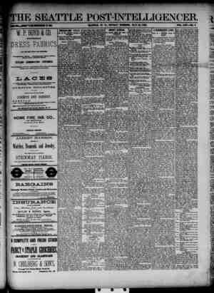 The Seattle Post-Intelligencer Gazetesi 20 Mayıs 1888 kapağı