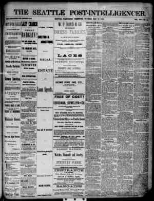 The Seattle Post-Intelligencer Gazetesi 22 Mayıs 1888 kapağı