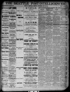 The Seattle Post-Intelligencer Gazetesi 23 Mayıs 1888 kapağı