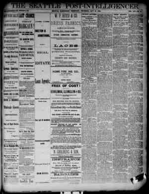 The Seattle Post-Intelligencer Gazetesi 24 Mayıs 1888 kapağı