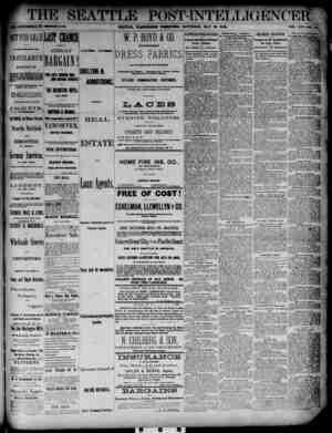 The Seattle Post-Intelligencer Gazetesi 26 Mayıs 1888 kapağı