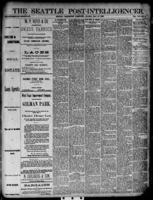 The Seattle Post-Intelligencer Gazetesi 27 Mayıs 1888 kapağı