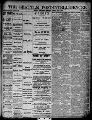The Seattle Post-Intelligencer Gazetesi 29 Mayıs 1888 kapağı