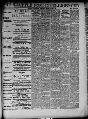 The Seattle Post-Intelligencer Gazetesi 3 Haziran 1888 kapağı