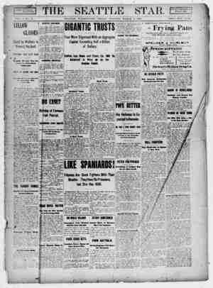Seattle Star Gazetesi 3 Mart 1899 kapağı