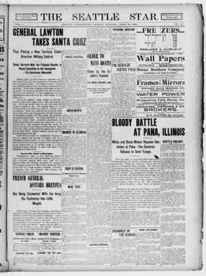 Seattle Star Gazetesi 10 Nisan 1899 kapağı