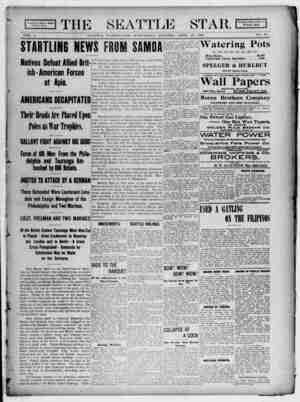 Seattle Star Gazetesi 12 Nisan 1899 kapağı