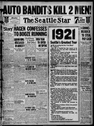 Seattle Star Gazetesi 31 Aralık 1920 kapağı