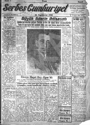 Serbes Cumhuriyet Gazetesi 26 Ekim 1930 kapağı