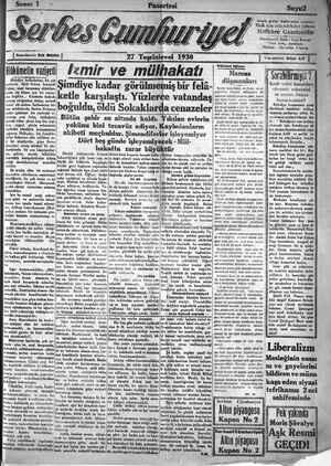 Serbes Cumhuriyet Gazetesi 27 Ekim 1930 kapağı